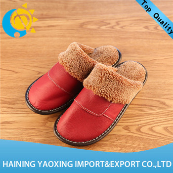Hot sale cow hide indoor slippers for lady oem wholesale