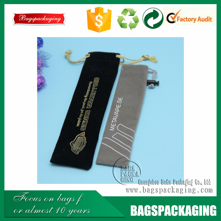 2016 top quality wholesale velvet pouch for pen with ball drawstring