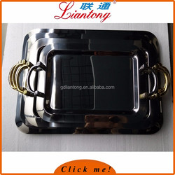 Wholesale high quality 18inch 485x345mm serving tray stainless steel, arab serving tray with gold handles