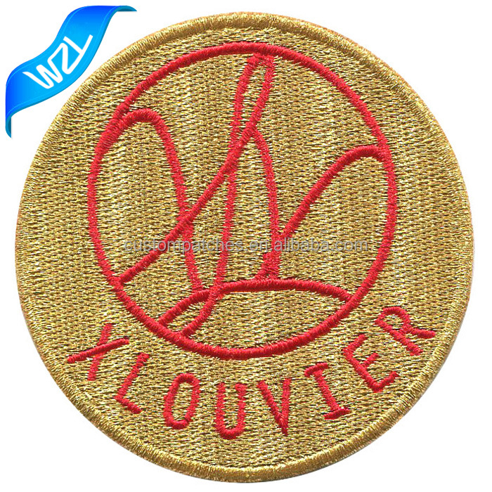 Gold metallic thread shinny letters patch Embroidery glitter garment logo patch