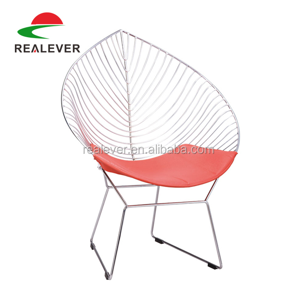 Metal leisure outdoor wire chair/Bertoia Wire Leaf Chair with cushion/leaf lounge chair
