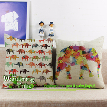 DIY watercolor Style Throw Pillow Cover Drawing color cartoon elephant Children's gifts