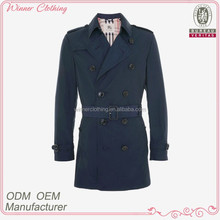 2014 fashion double breasted belted short navy blue trench coat men