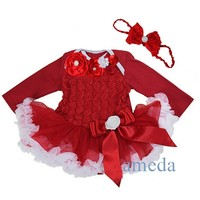 Baby Girls Crystal Rosettes Red White Long Sleeves Bodysuit Pettiskirt and Headband Party Dress NB-18M