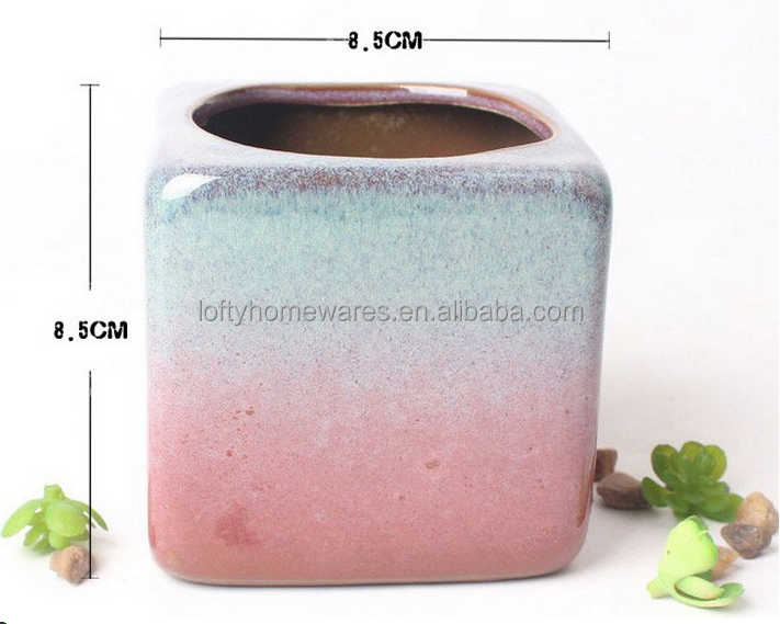 Attractive glazed mini ceramic flower pots