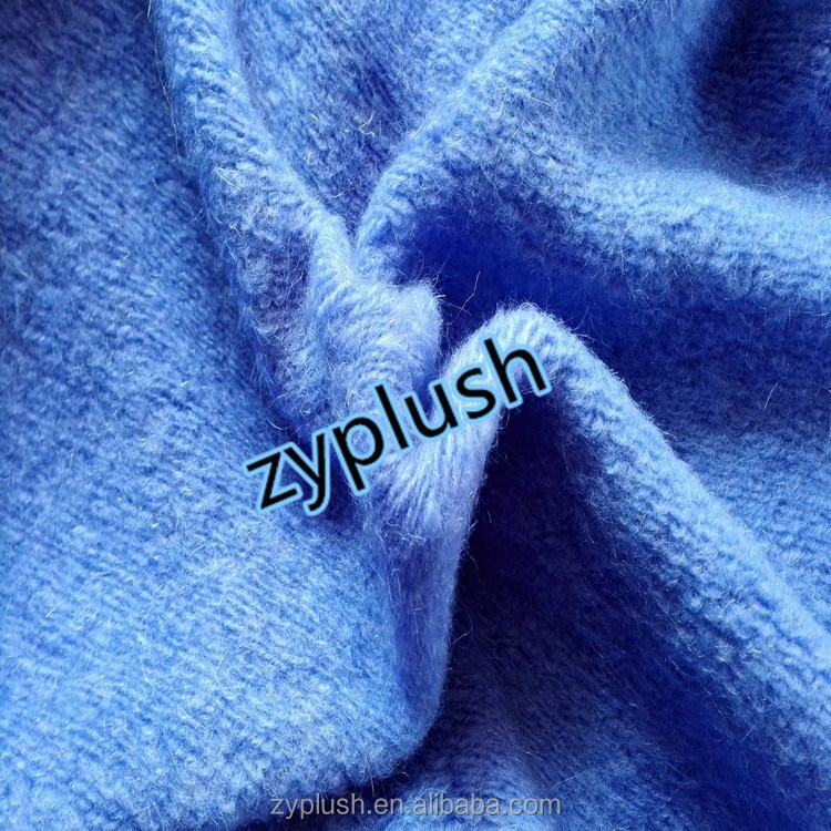 FY130162-5 Wool acrylic blend knitted fabric with 32%mohair