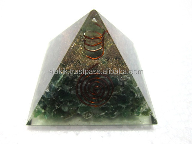 Green Aventurine Copper Coil Oronge Pyramid