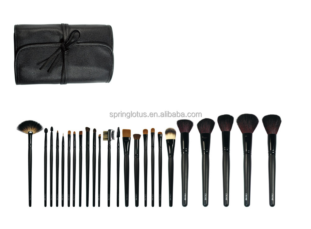 High-end Wood Handle Synthetic Hair 24pcs makeup brush sets with PU Leather Bag