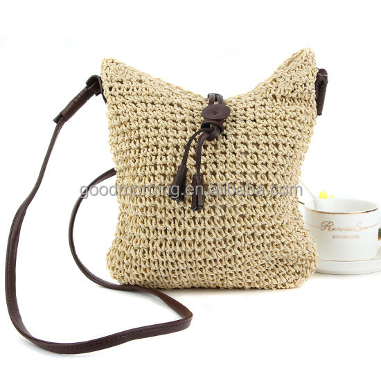 Boho-Style Crochet Straw Leather Drawstring Bag 2017 Trend accessories Crochet Bucket Purse