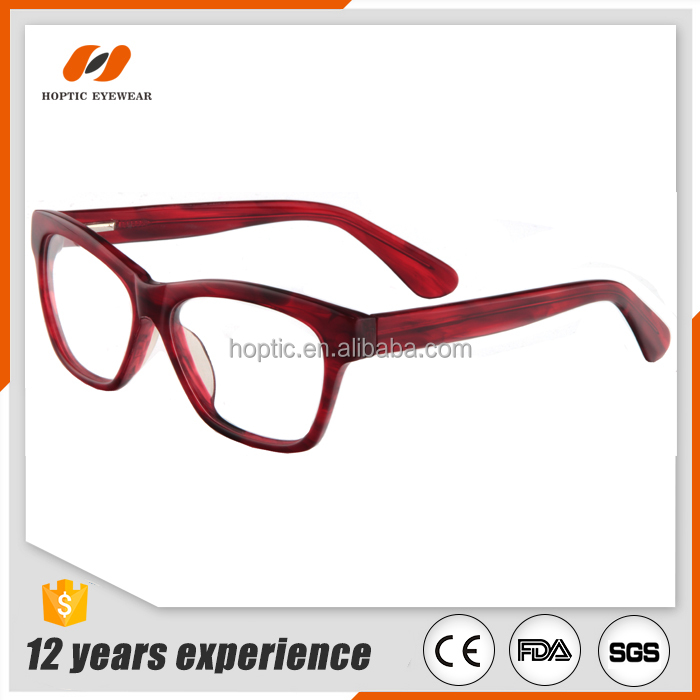 handmade burgurdy acetate eyeglasses optical frame for women with spring hinge, OEM&ODM acetate factory in Shenzhen