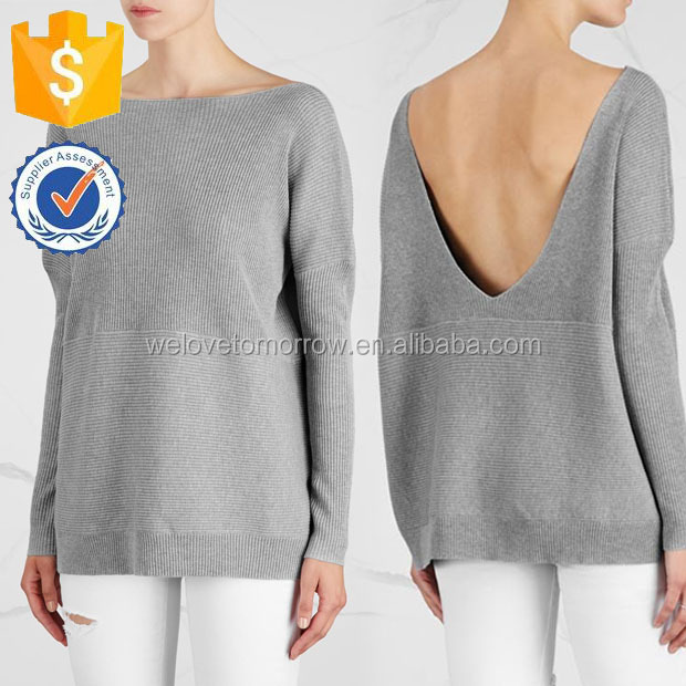 Grey Cotton Jumper Ribbed Dropped Shoulder low V Back Sweater Spring Autumn Manufacture Wholesale Fashion Women Apparel(TF0081B)