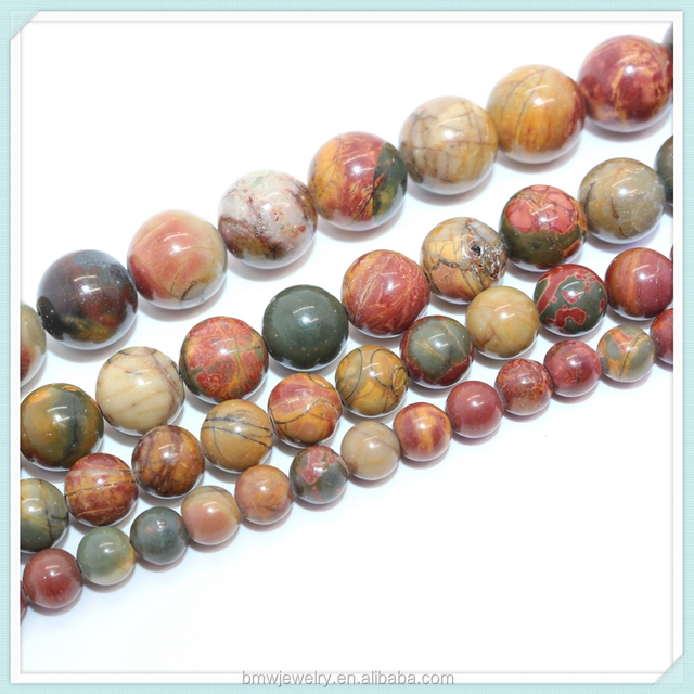 Natural 4mm 6mm 8mm 10mm 12mm Multicolor Picasso Jasper Round Smooth Stone Beads 15.5 Inches Per Strand