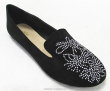 Fashion ladies hot fix rhinestone slip on Smoking Slippers flat shoes