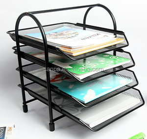 Office Metal Mesh Desk Organizer Document File Paper Tray