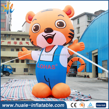 Giant inflatable tiger cartoon display for advertising