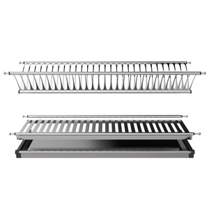 Kitchen accessories Wall mounted metal dish rack 2 tier Cabinet stainless steel dish drainer