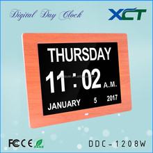 12 inch wooden extra-large memory loss digital calendar day clock for elderly dementia alzheimer impaired vision DDC-1208W