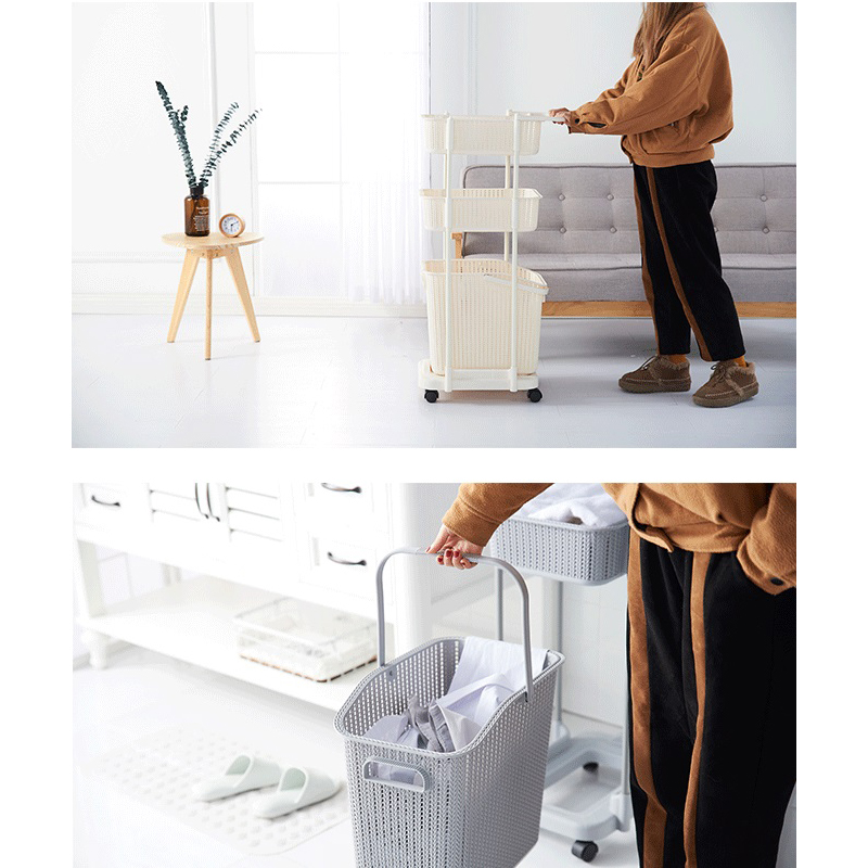 New Design Plastic PP 2 Layers Clothes Organizer Clothes Storage Basket Rack Shelf With Handle And Moving Wheels