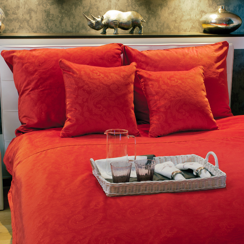 Emma luxury velvet bedding set 220x200 hot red