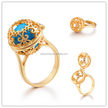 HRI02A06 Merryshine Trendy Copper with Gold Pglated Creative Chime Ball Ring Size 7 for Girls Musical Bola Ring