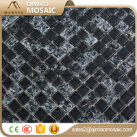 Black Cracked Broken Glass Mosaic Tile for Kitchen And Wall