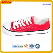 Wholesale China Manufacturer Plain Sneakers Women red Canvas Shoes