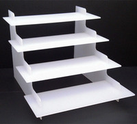 4 Step White Acrylic Display Counter Stand, 4 Tiers Perspex Counter Cosmetic Riser, Lucite Makeup Display Stand