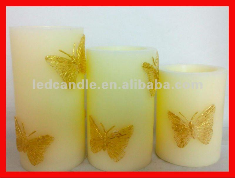 2012 LED candle Set of 3 Batterfly Flameless Candles with Timers