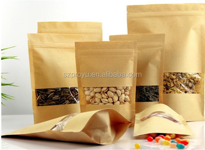 nuts aluminum foil ziplock zipper food snack doypack/kraft paper nuts packing bag