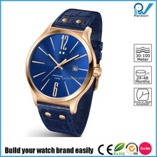 Build your watch brand easily slim line stainless steel fashion vogue ladies watch genuine leather strap