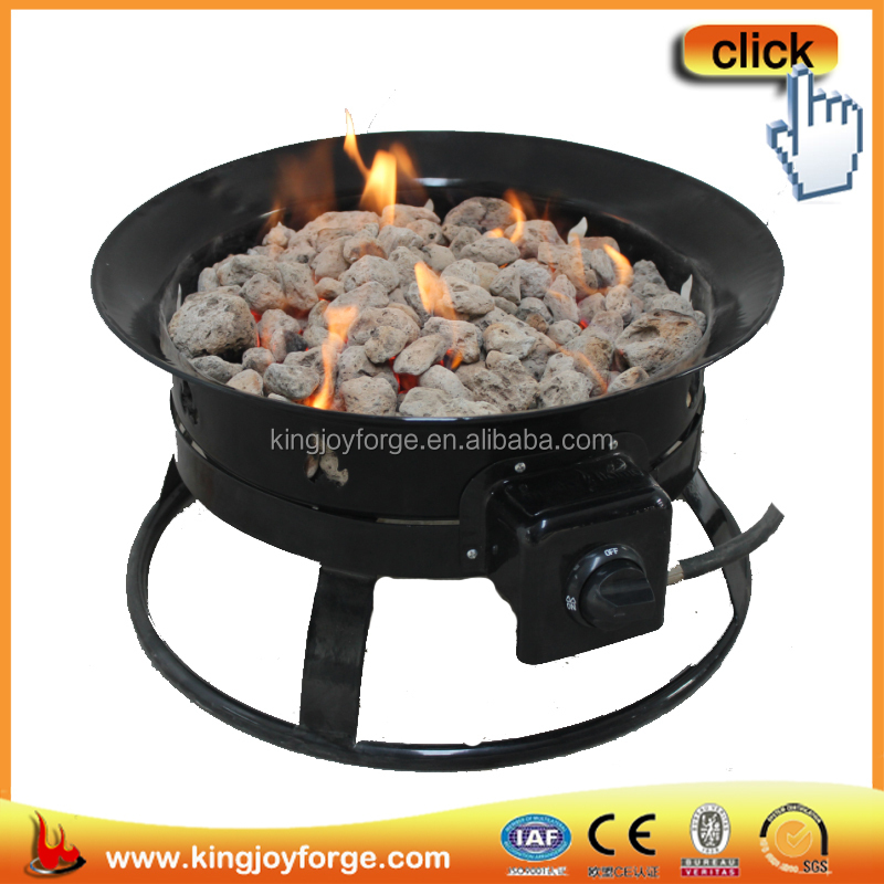 Kingjoy outdoor portable propane gas fire pit with lava rocks