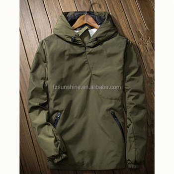 2018 NEW Army Green Woodland Mens Hooded Pullover Windbreaker