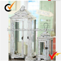 S/2 French Country Home Garden Wooden White Vintage Tealight Lantern
