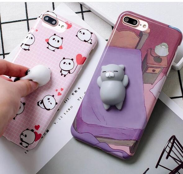 Lovely 3D squeeze squishy cat silicone phone casing cellphone case for iphone 7 6s 6Plus 7Plus soft TPU cover