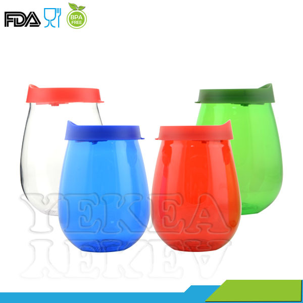 new items of goods in 2016 plastic-cups Plastic wine glass tumbler with lid