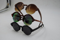 Half frame wood or bamboo sunglasses