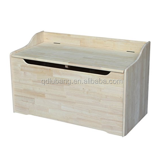 Wholesale handmade unfinished beautiful wood toy storage chest box with hinged lid and childrens safety hinge
