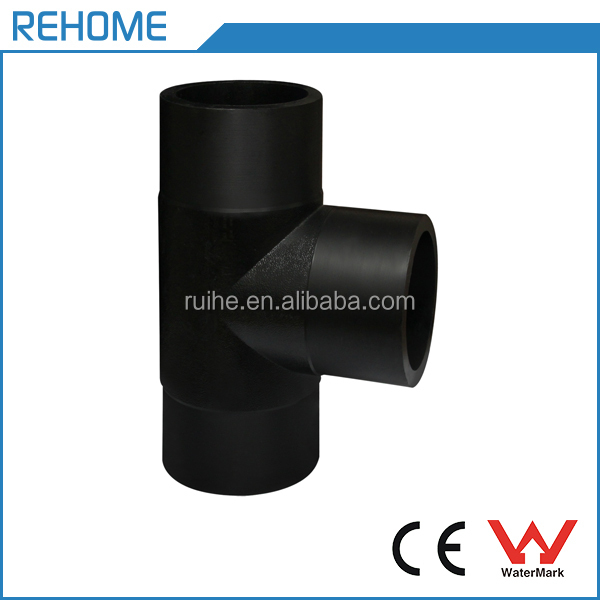Equal Tee Coupling HDPE Water Pipe Butt Weld Fittings Socket Connector