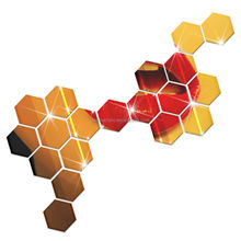 Acrylic Hexagon Mirror Wall Sticker Home Decor Room Decal Decoration