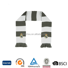 Hot sell fashion cheap customized club logo printed designs football team soccer fan knitted scarf