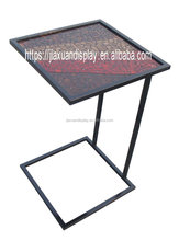 Iron outdoor table with marble inlay top garden dining table coffee table