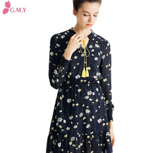 fashion Ladies spring chiffon long sleeves floral dress makers in india