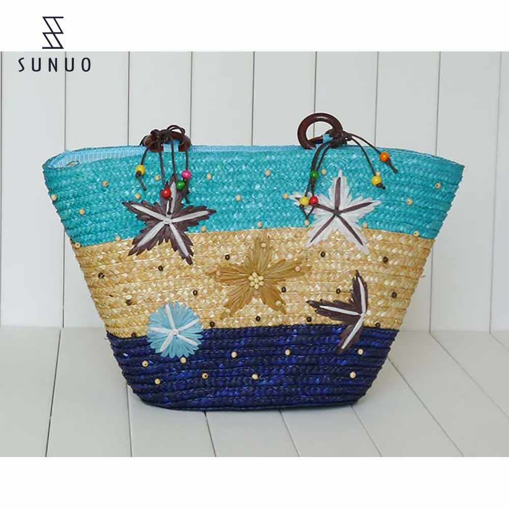 Colorful Decoration Large Straw Beach Straw Basket Bag