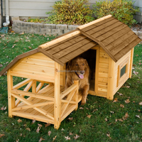 OEM design 100% made from wood wooden dog kennel with veranda