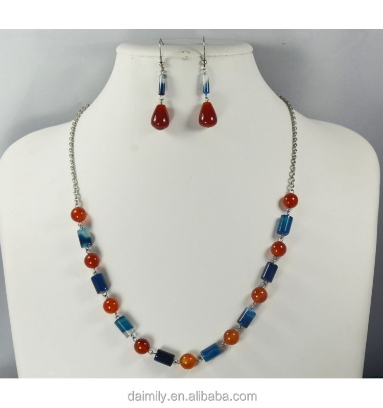 Natural gemstone bead red agate jewelry set necklace, bracelet, earring for lady