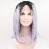 Large stock!Natural look Straight ombre wig dark roots short bob wigs for women synthetic lace front wig heat resistant Hair