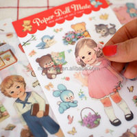 6sheets/pack Wholesale DIY Scrapbook Paper Cute curly doll Diary Stickers Decoration Sticker Paper