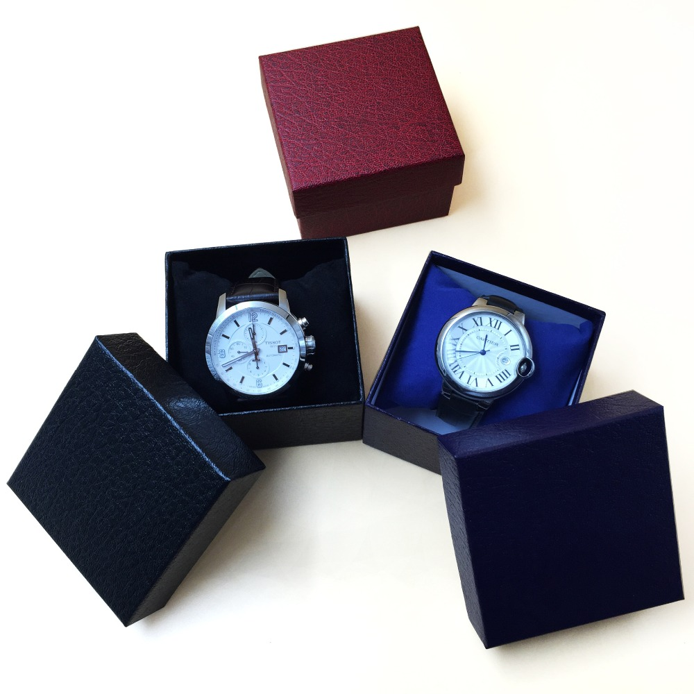 hot sale watch gift box rectangle cardboard watch boxes cases with pillow packing gift box