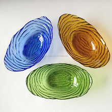 boat shaped glass fruit bowl colored glass bowl