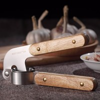 304 Stainless Steel Garlic Presses Kitchen Tools Gadgets Portable Wooden Handle Garlic Crusher Cutter Fruit Vegetable Tools